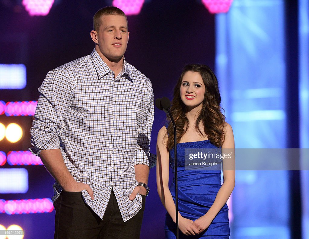 J.J. Watt and Laura Marano speak onstage at the Third Annual Hall of Game Awards hosted by Cartoon Network at Barker Hangar on February 9, 2013 in Santa Monica, California. 23270_003_JK_0832.JPG