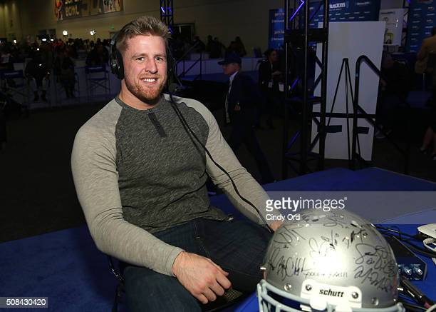 J Watt of the Houston Texans attends SiriusXM at Super Bowl 50 Radio Row at the Moscone Center on February 4 2016 in San Francisco California