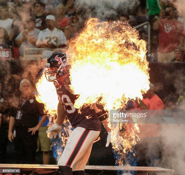J Watt of the Houston Texans is introduced to the crowd at NRG Stadium on August 19 2017 in Houston Texas