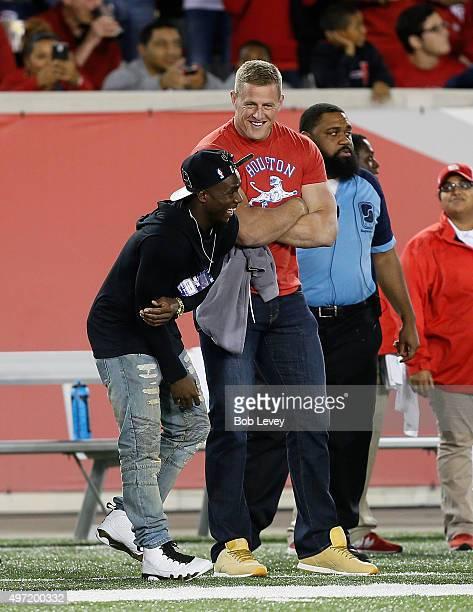 J Watt of the Houston Texans on the sidelines on November 14 2015 in Houston Texas