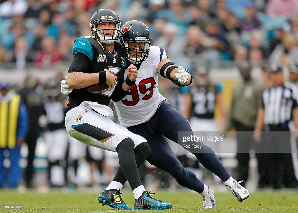 J Watt of the Houston Texans sacks Blake Bortles of the Jacksonville Jaguars during the first half of the game at EverBank Field on December 7 2014...