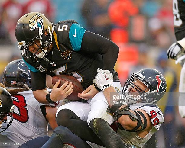 J Watt of the Houston Texans sacks Blake Bortles of the Jacksonville Jaguars during the second half of the game at EverBank Field on December 7 2014...
