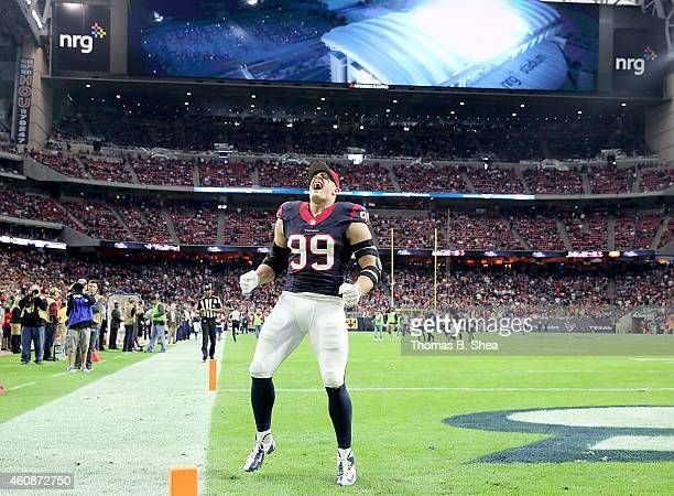 J Watt of the Houston Texans screams before playing the Jacksonville Jaguars in a NFL game on December 28 2014 at NRG Stadium in Houston Texas