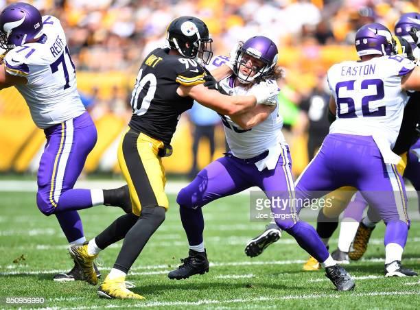 J Watt of the Pittsburgh Steelers battles against David Morgan of the Minnesota Vikings at Heinz Field on September 17 2017 in Pittsburgh Pennsylvania