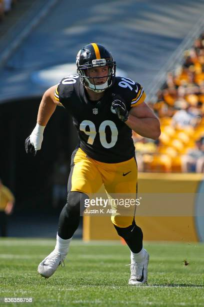 J Watt of the Pittsburgh Steelers in action against the Atlanta Falcons during a preseason game at Heinz Field on August 20 2017 in Pittsburgh...