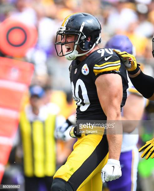 J Watt of the Pittsburgh Steelers in action during the game against the Minnesota Vikings at Heinz Field on September 17 2017 in Pittsburgh...