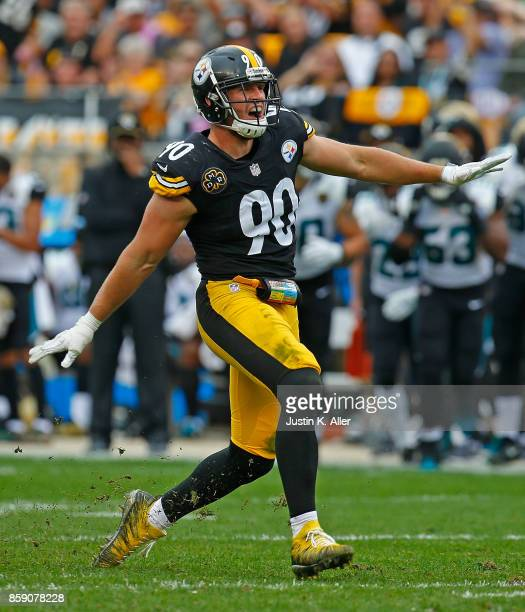 J Watt of the Pittsburgh Steelers reacts after a defensive stop in the second half during the game against the Jacksonville Jaguars at Heinz Field on...