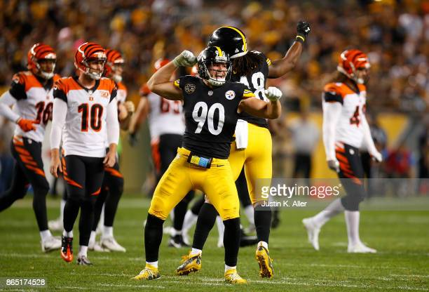 J Watt of the Pittsburgh Steelers reacts after a sack of Andy Dalton of the Cincinnati Bengals in the second half during the game at Heinz Field on...