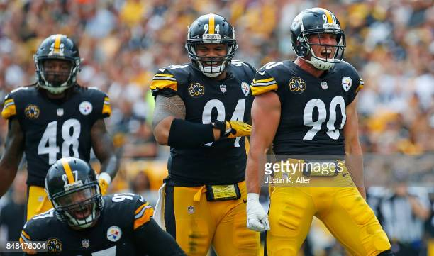 J Watt of the Pittsburgh Steelers reacts after a tackle in the first half during the game against the Minnesota Vikings at Heinz Field on September...