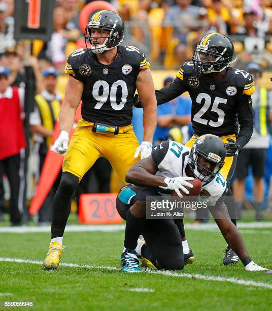 J Watt of the Pittsburgh Steelers reacts after tackling Leonard Fournette of the Jacksonville Jaguars in the first half during the game at Heinz...