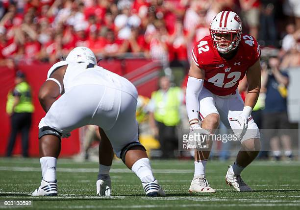 J Watt of the Wisconsin Badgers plays linebacker in the second quarter against the Akron Zips at Camp Randall Stadium on September 10 2016 in Madison...