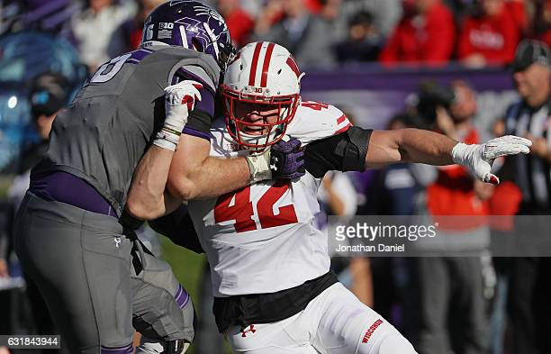 J Watt of the Wisconsin Badgers rushes against Eric Olson of the Northwestern Wildcats at Ryan Field on November 5 2016 in Evanston Illinois...