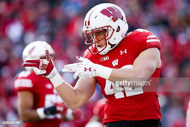 J Watt of the Wisconsin Badgers takes the field before the game against the Minnesota Golden Gophers at Camp Randall Stadium on November 26 2016 in...