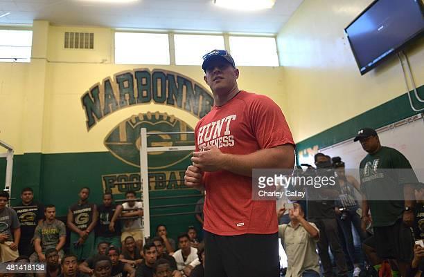 Watt Surprises Fans In Los Angeles With Reebok For #TurnUp4Watt at Narbonne High School on July 17 2015 in Los Angeles California