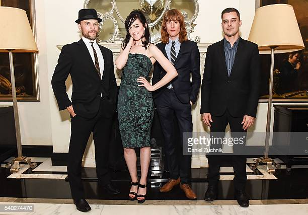 Watt White Lena Hall Justin Craig and Brian Fishler pose after their performance at Cafe Carlyle on June 14 2016 in New York City