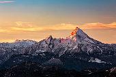 The Watzmann near Berchtesgaden in Upper Bavaria, Germany at sunrise.