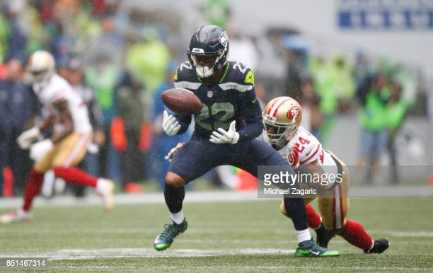 Waun Williams of the San Francisco 49ers breaks up a pass to CJ Prosise of the Seattle Seahawks during the game at CenturyLink Field on September 17...