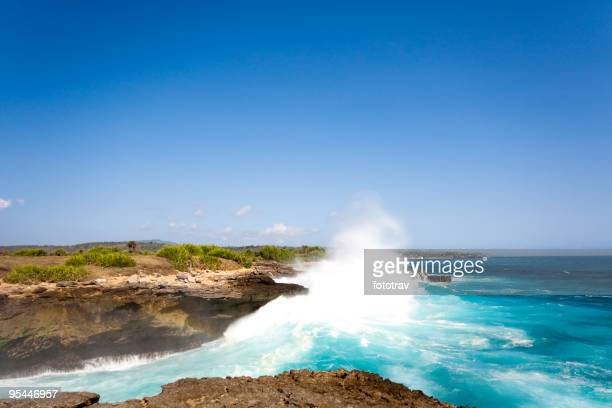 Wave explosion on beautiful coastline