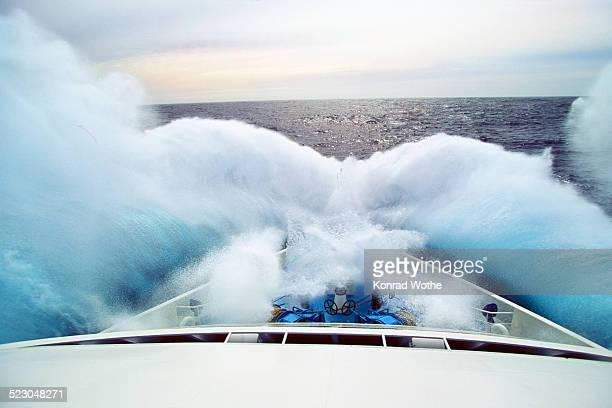 Wave hitting bow of a cruise ship, Drake Passage or Mar de Hoces, Southern Ocean, South Polar Ocean, Antarctica