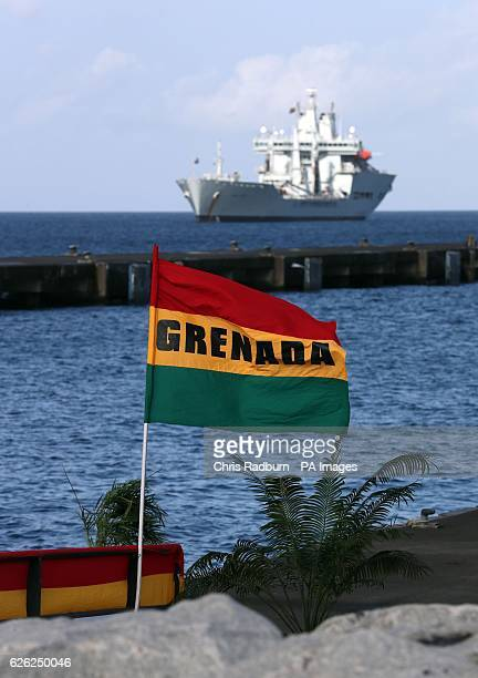 RFA Wave Knight a class fast fleet tanker being used by Prince Harry during his Caribbean tour seen from the Grenada Cruise Port in Grenada