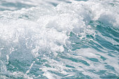 Wave ocean water background, Blue sea texture with waves.