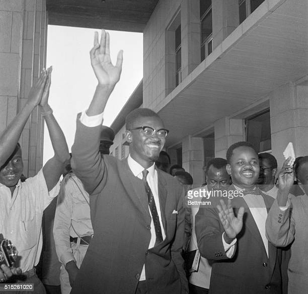Wave of Confidence Leopoldville Congo Flushed with victory Congolese Premier Patrice Lumumba waves as he leaves the National Senate Sept 8th Lumumba...