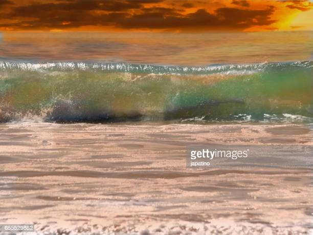 Wave on the beach at sunset