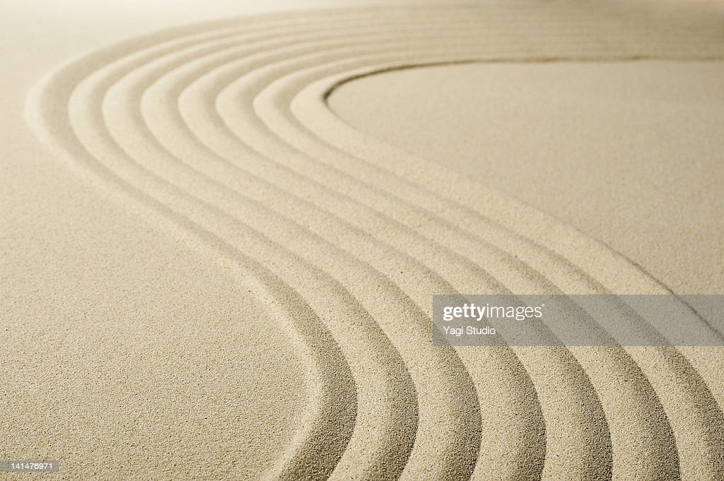 Wave pattern in the sandpit : Stock Photo