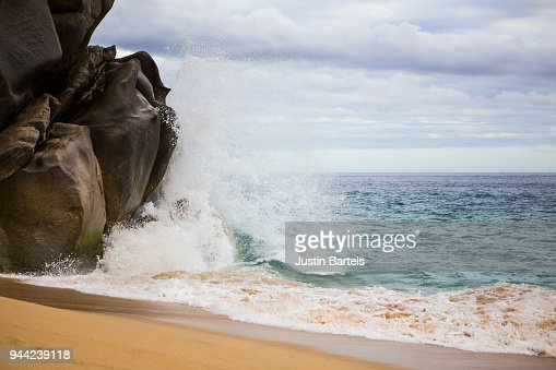 Wave Splashing Against Rocks in Cabo San Lucas : Stock Photo
