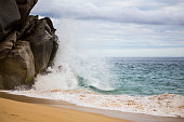Wave Splashing Against Rocks in Cabo San Lucas, Mexico. Los Cabos.