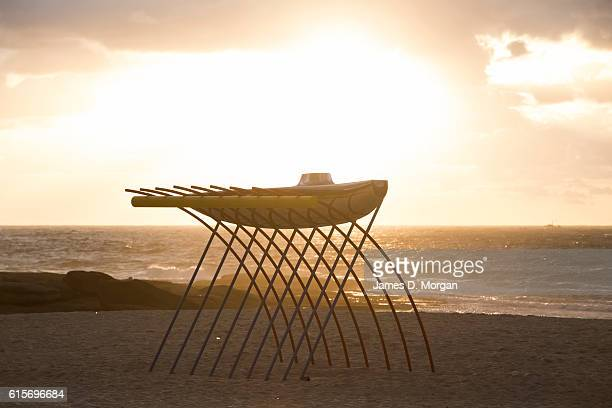 'Wave Wall' by Zhou Tengxiao at Sculpture By The Sea at Bondi Beach on October 20 2016 in Sydney Australia