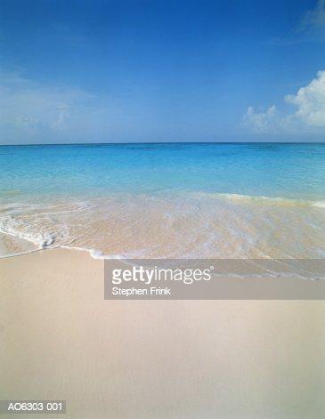 Wave washing onto beach, Cape Santa Maria, Long Island, Bahamas : Stock Photo