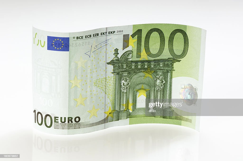 Waved 100 Euro note