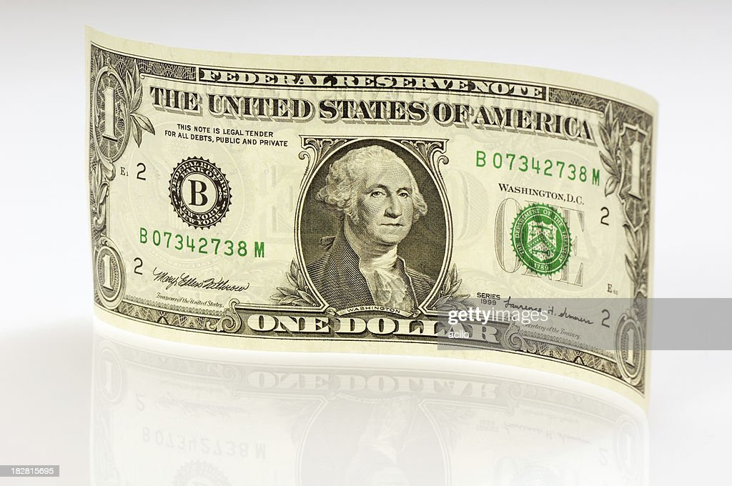 Waved one dollar bill with reflection