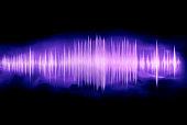 colorful waveform isolated on black, purple