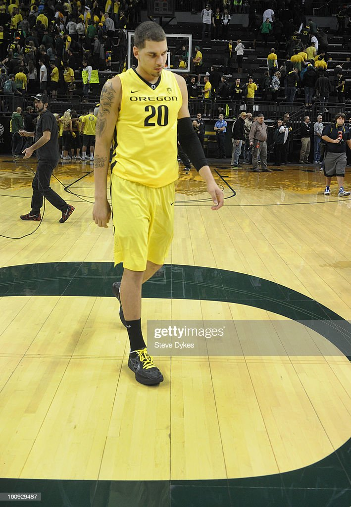 Waverly Austin #20 of the Oregon Ducks walks off the court after the game against the Colorado Buffaloes at Matthew Knight Arena on February 7, 2013 in Eugene, Oregon. Colorado won the game 48-47.