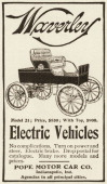 A Waverly Model 21 electric car is depicted in a magazine advertisement from 1903 The price listed in the ad is $850 with top $900 The car was made...
