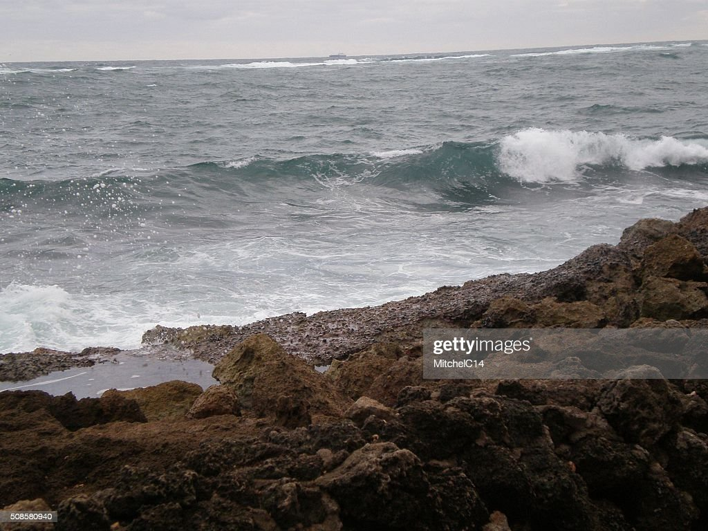 Waves against Puerto Rican Shore : Stock Photo