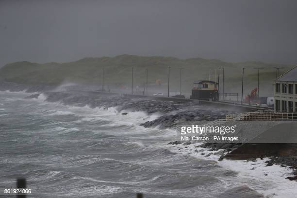 Waves and sea spray at Lahinch in County Clare on the West Coast of Ireland as Hurricane Ophelia hits the UK and Ireland with gusts of up to 80mph