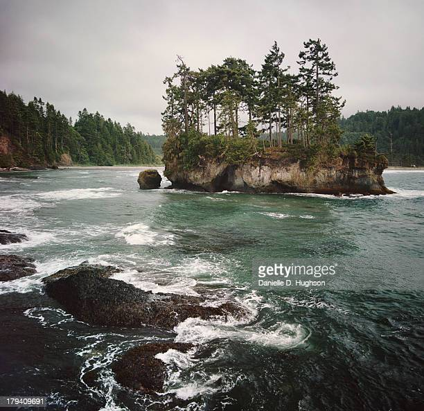 Waves And Small Island Along Coast