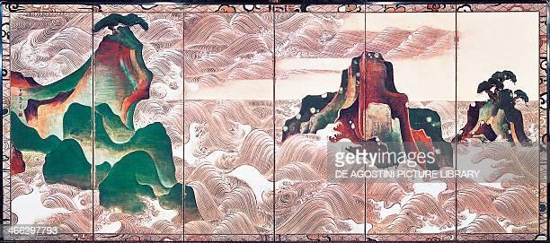 Waves at Matsushima screen with six panels by Korin Ogata 17th18th century Japan