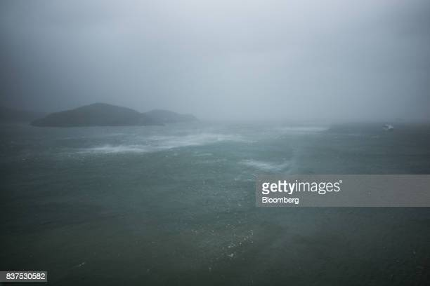 Waves break in front of Lamma Island during a No 10 Hurricane Signal raised for Typhoon Hato in Hong Kong China on Wednesday Aug 23 2017 Hong Kong...