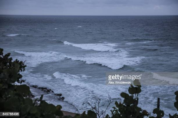 Waves churn in the Caribbean Sea as Hurricane Maria approaches on September 19 2017 in San Juan Puerto Rico Puerto Rico Gov Ricardo Rossello is...