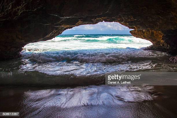 Waves Coming Under a Natural Bridge