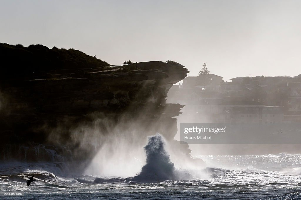 Waves crash against the headland at Tamarama on May 25, 2016 in Sydney, Australia. All Sydney beaches were closed to swimmers today as large waves pounded the coast.