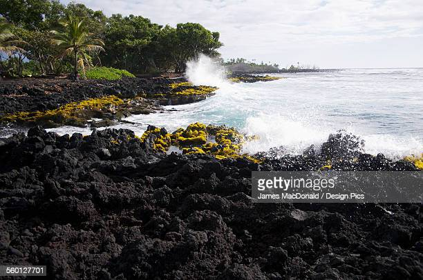 Waves crash into the shore at Isaac Hale Park on the Big Island of Hawaii