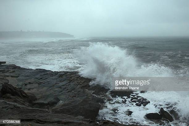 Waves crash on South Curl Curl headland on April 22 2015 in Sydney Australia Three people have died and more than 200000 are still without power as...