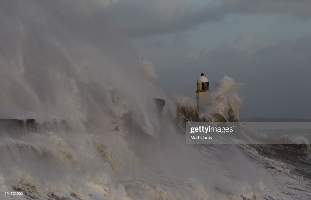 Waves crash over the harbour wall in Porthcawl on September 12, 2011 in Wales. Parts of the country are to be hit by severe gales as the remnants of Hurrican Katia passes across the country reaching it's peak later today.