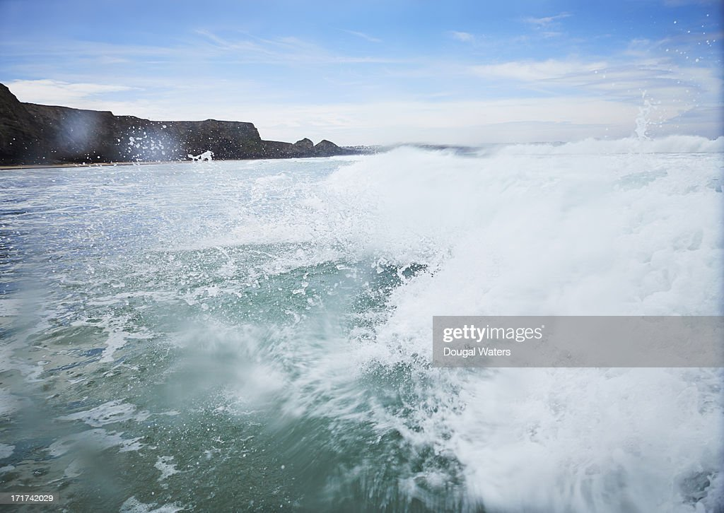 Waves crashing on Atlantic coastline.
