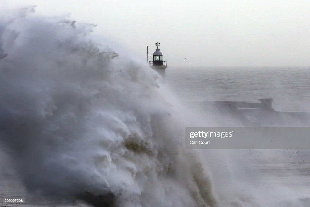 Waves hit a harbour wall on February 8, 2016 in Newhaven, East Sussex. Storm Imogen is the ninth named storm to hit the UK this season. This year's storms are being named in an effort by the Met Office and Met Eireann to increase public awareness and safety. They were named by public ballot and there are no names for the letters Q, U, X, Y and Z.